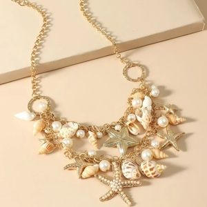 Mermaid gold chain layer shell necklace